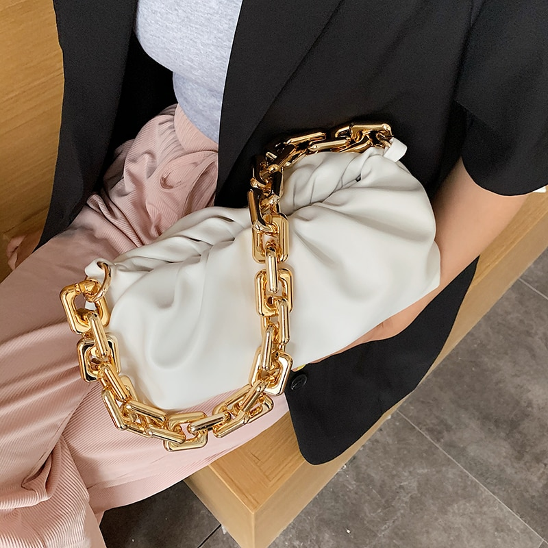 Small chain clutch Cloud Bag luxury Women brand Soft Leather Shoulder tote Bags lady Solid Color Pleated Dumpling handbag purse