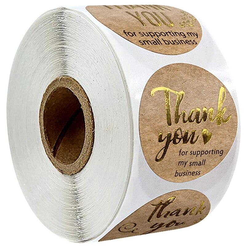 Sello de pegatinas Thank you 500 Uds. Etiqueta de embalaje de productos de pequeño negocio papel recortes papelería pegatinas rollo