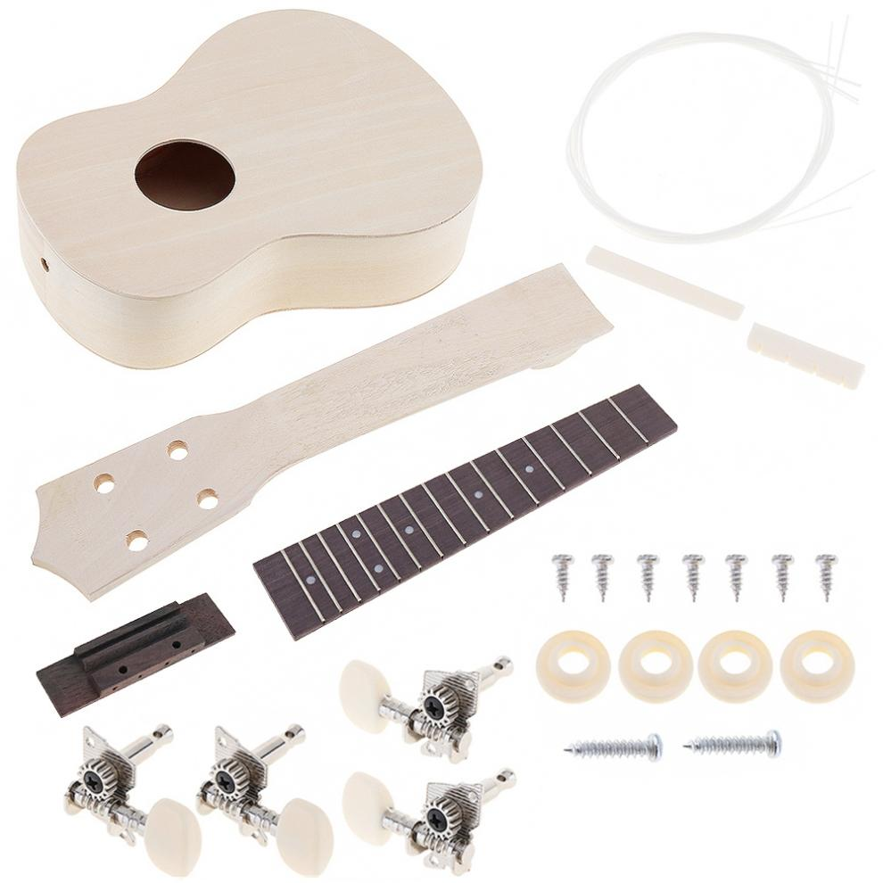 21 Inch Ukulele DIY Kit Basswood Soprano Hawaii Guitar Handwork Painting with Rosewood Fingerboard and All Closed Machine Head enlarge
