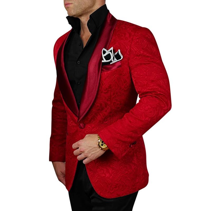 Handsome Embossing Groomsmen Shawl Lapel Groom Tuxedos  Men Suits Wedding/Prom/Dinner Best Blazer(Jacket+Pants+Tie) 003