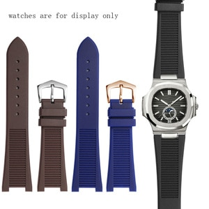 Concave interface Men's Watchbands For PP 5711 5712 7010G Brand Watch Soft Silicone  With Pin Buckle 25x13mm Black Blue Brown