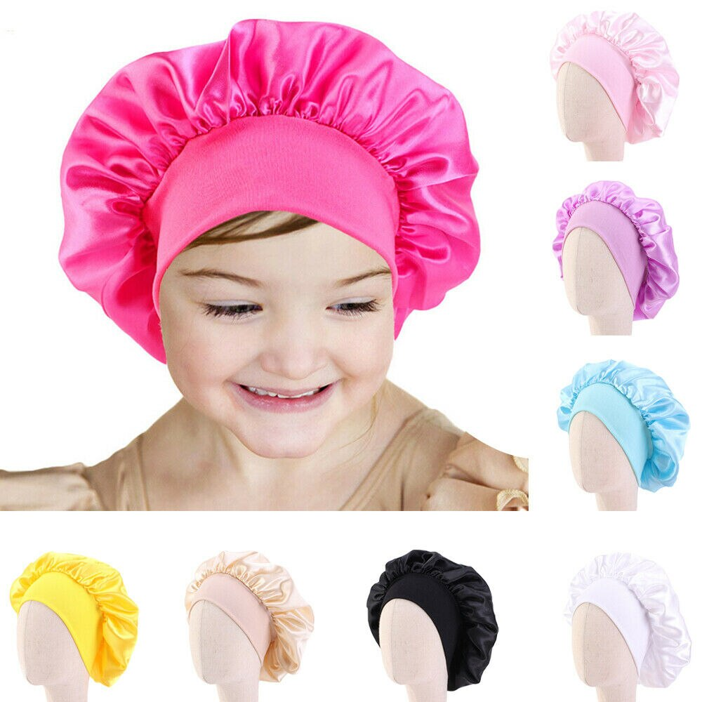 Satin Night Sleep Cap Kids Girls Turban Wide Band Elastic Headwear Bonnet Beanie Nightcap Sleeping Hat Head Wrap Hair Care Cover