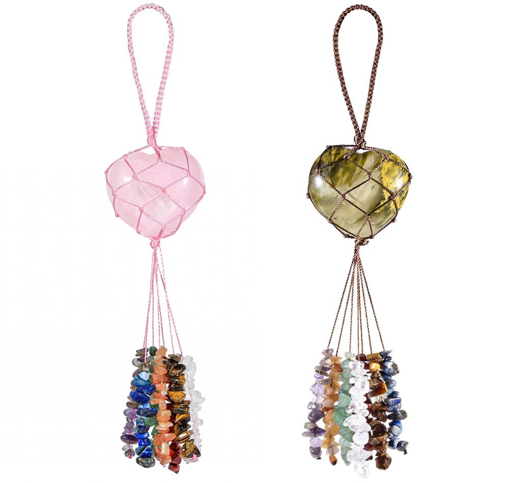 TUMBEELLUWA Healing Crystal Handmade Hanging Ornament Love Heart Charms with Chakra Stone Tassel Car Ornament for Fengshui Decor недорого