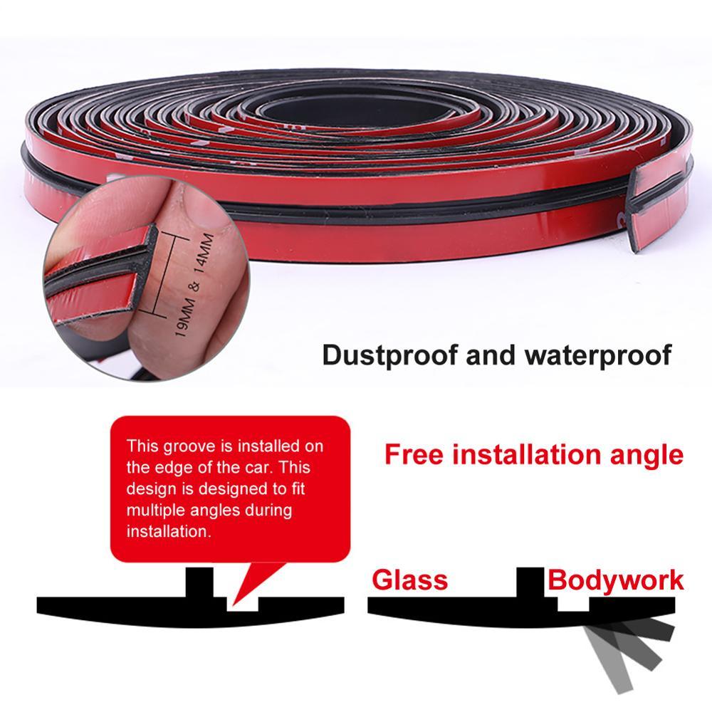 Резиновые уплотнительные полосы для автомобиля, защитная лента для кромки дверей и лобового стекла, шумоизоляция, декоративный Стайлинг, 2-6...