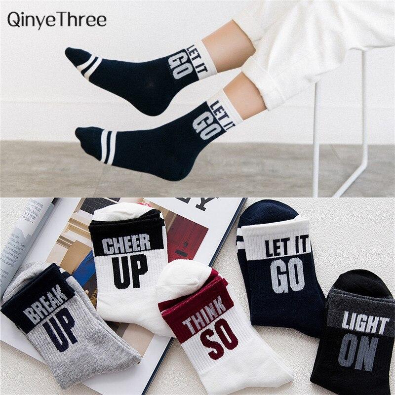 Calcetines divertidos de algodón a rayas con diseño de palabra para mujer, calcetines suaves de verano y primavera, regalo para parejas