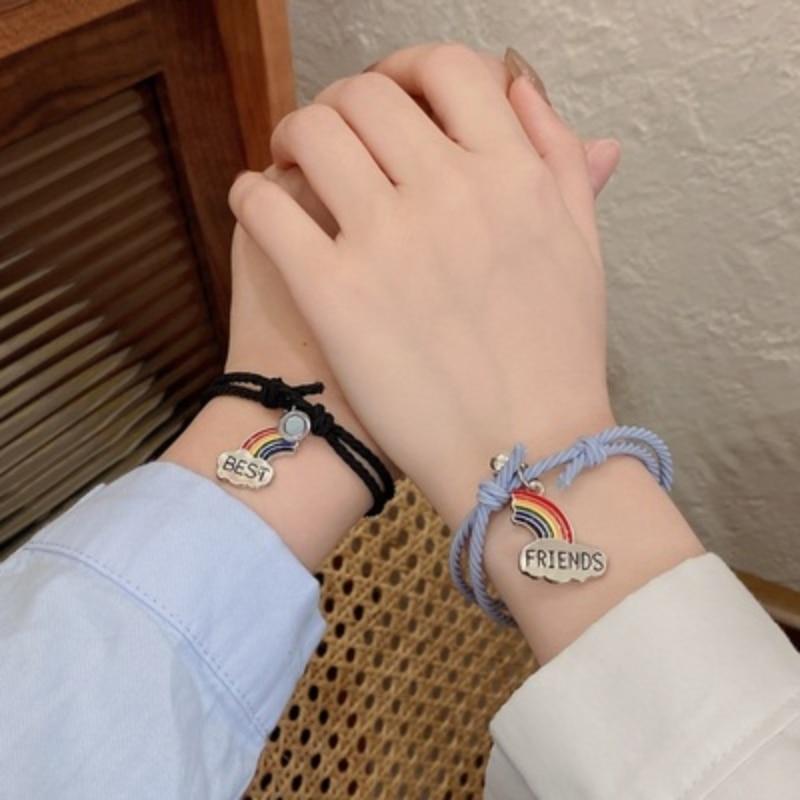 Rainbow Couple Bracelet Rope Woven Star Moon Spaceman Magnetic Women Men Magnet Attract Wrist Chain