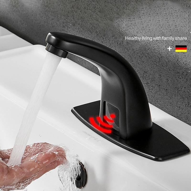 حنفيات الحمام الساخنة والباردة الأوتوماتيكية ، اللون أسود غير لامع ، مستشعر اللمس ، بطارية طاقة ، ماء ، حوض ، مادة نحاسية