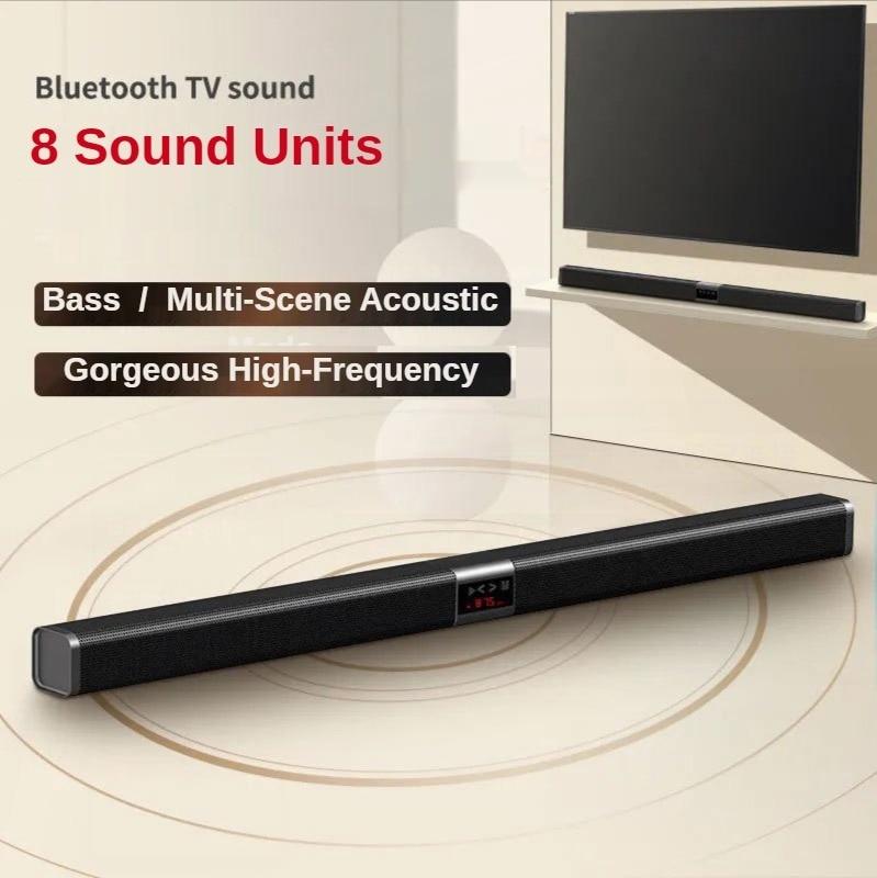 Soundbar TV سماعة لاسلكية تعمل بالبلوتوث مكبر صوت ستيريو SoundBox صدى جدار نظام مسرح منزلي ثلاثية الأبعاد محيطي لراديو FM TF بطاقة