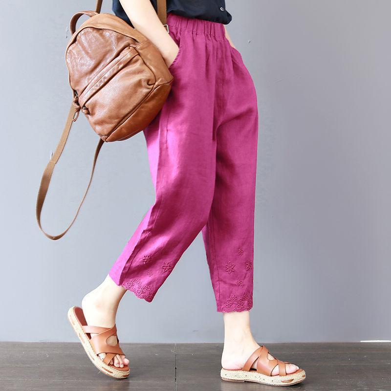 Pantalones de verano de las mujeres bordado de gran tamaño casual pantalones holgado Retro de cintura elástica pantalones Harem
