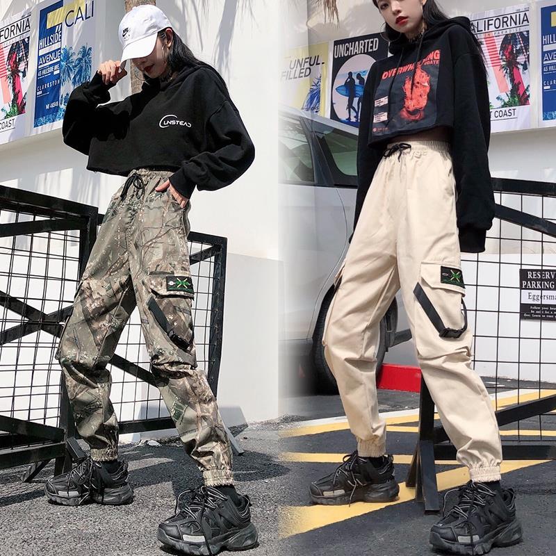Pantalones Cargo de camuflaje 2020 para mujer, pantalones holgados de cintura alta para mujer, pantalones de Hip Hop para mujer, tallas grandes 5XL 100KG