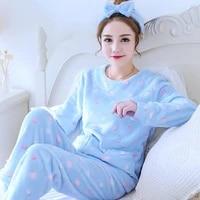 2021 winter flannel sleepwear pajamas for women coral fleece pyjamas plus size lingere strawberry pajama set loungewear women