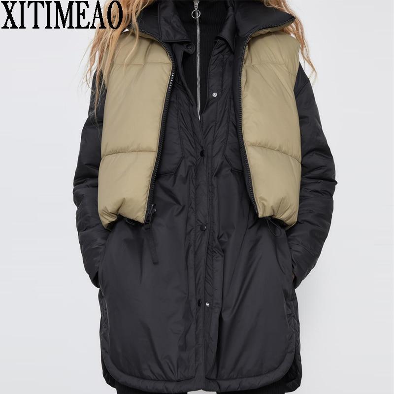 ZA Women Wear Both Positive And NegativeThick Warm Parkas Coat Vintage Drawstring Female Sleeveless