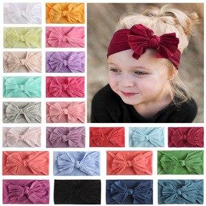 Мягкий детский широкий ободок для волос с бантиком; Однотонный головной убор; Милая повязка на голову для маленьких детей; Аксессуары для во...