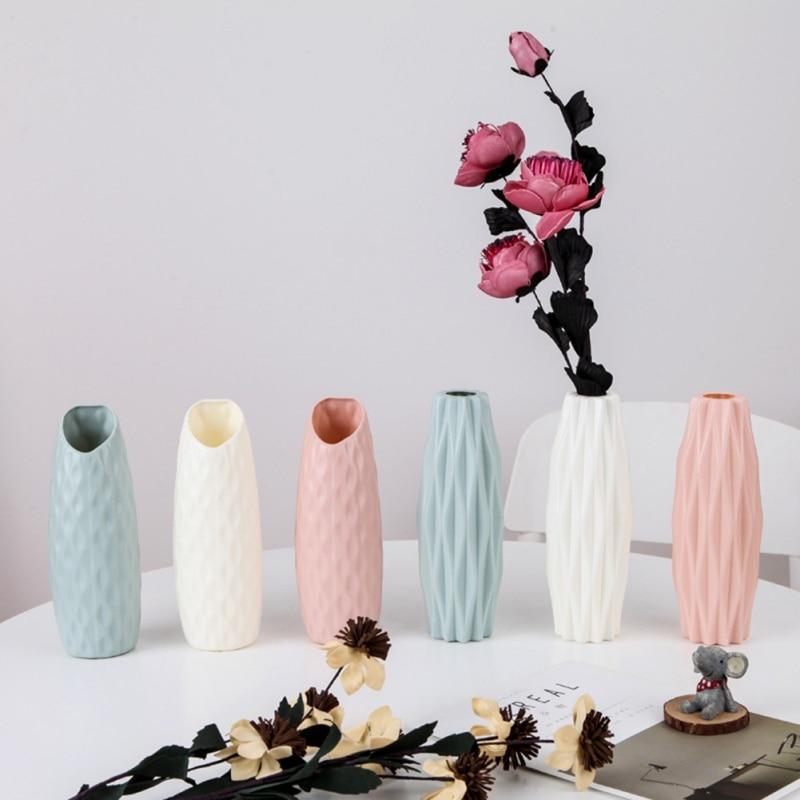 Пластиковая ваза оригами, белая имитация керамического цветочного горшка, цветочная корзина, украшение для дома, Цветочная ваза, Скандинавское настольное украшение
