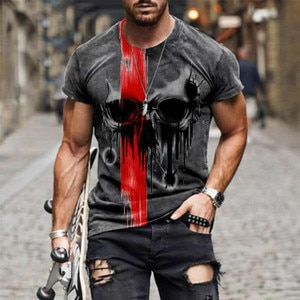 2021Summer Men's Fashion Street Personality Skull Head 3D Printing Clothes Plus Size Comfortable Round Neck Short Sleeve T-Shirt