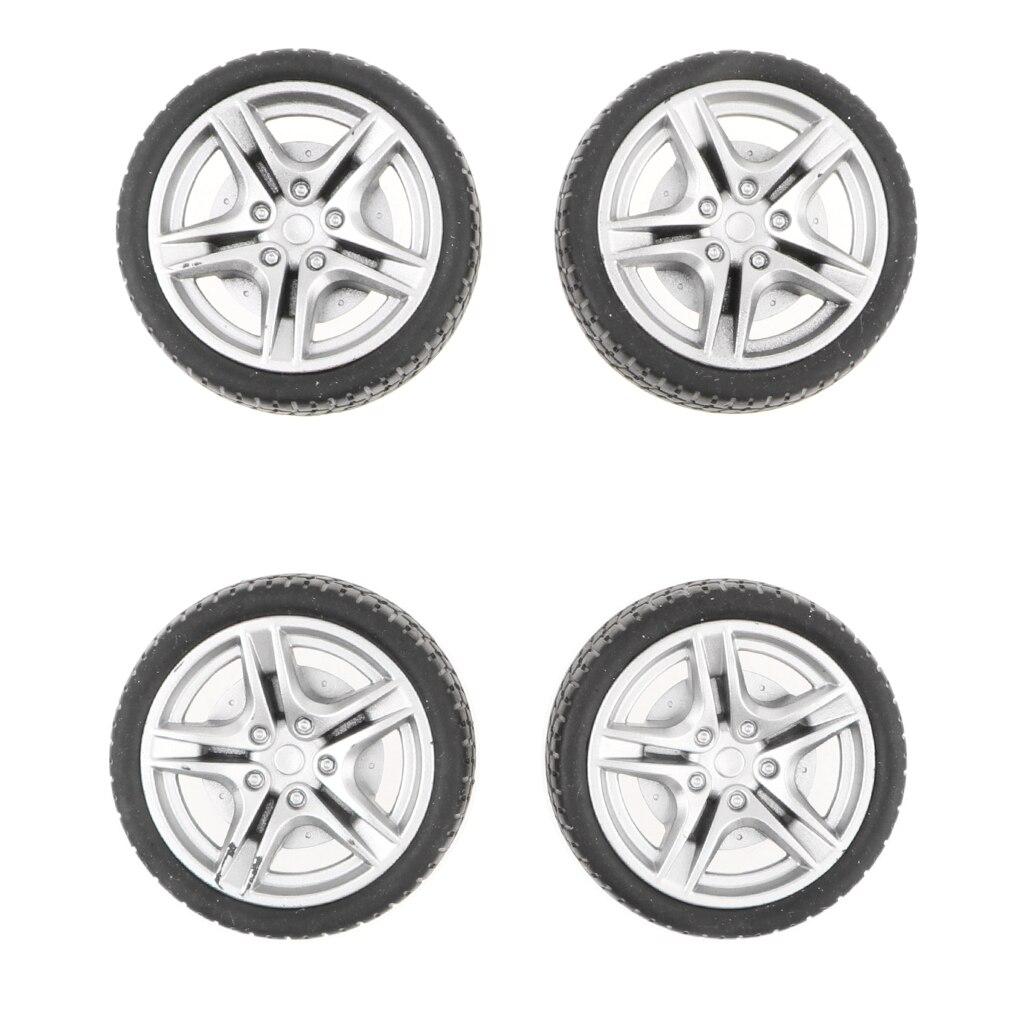 4PCS 1:10 Rubber RC on-Road Car Wheel Rim & Tyres 5 Spoke 48mm Deicast ACCS