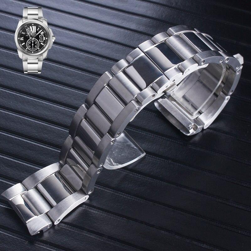 سوار ساعة معدني عالي الجودة للرجال والنساء ، سوار ساعة من الفولاذ المقاوم للصدأ مقاس 23 مللي متر ، سوار ساعة عصري مناسب من كارتيير كاليبر