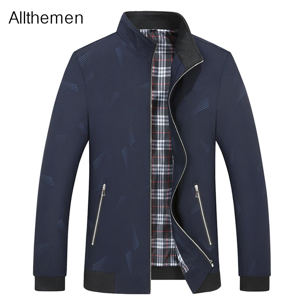 Allthemen Осенняя мужская куртка на молнии мужская повседневная Уличная приталенная Куртка мужская зеленая черная куртка пилот куртка мужская ...