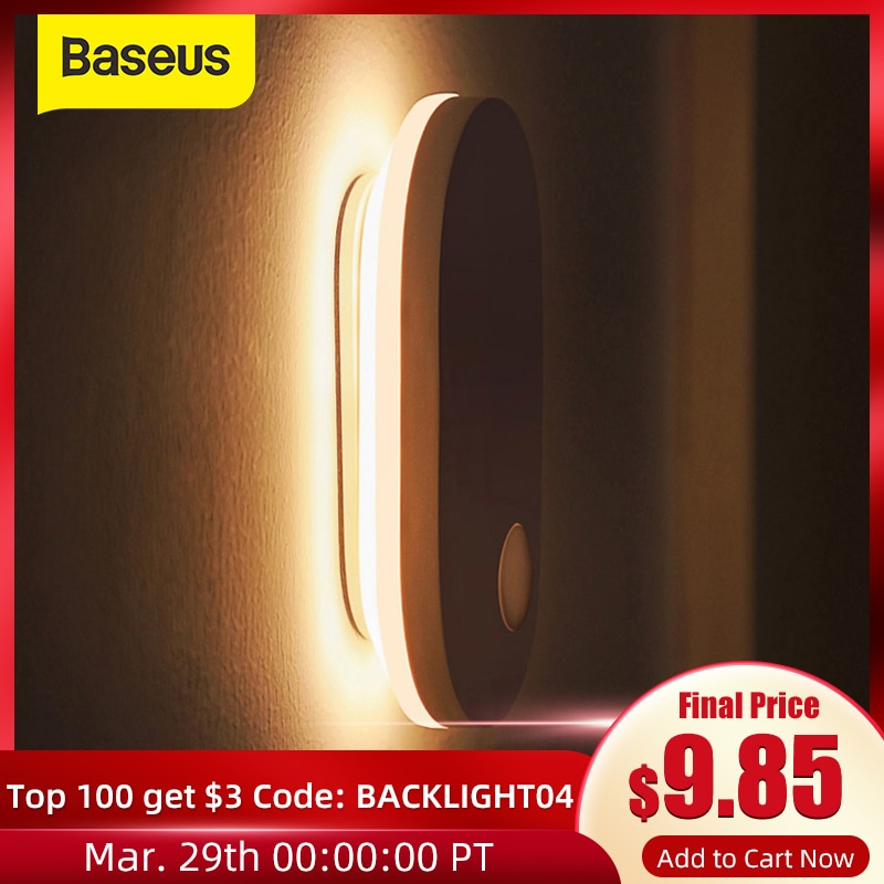 AliExpress - Baseus PIR Motion Sensor Night Light Human Induction Backlight Magnetic LED Light Rechargeable Bedside Lamp Wall Lamp For Home