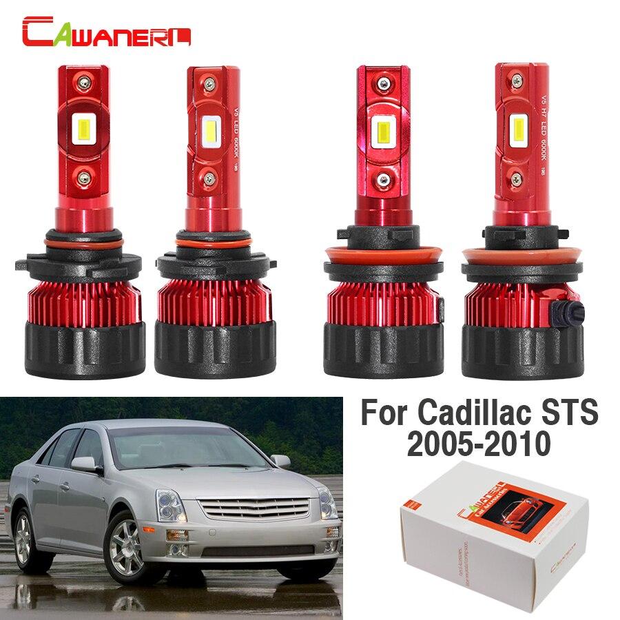 Cawanerl 4 x carro 9005 h11 lâmpada led farol alto baixo feixe 9000lm branco 12 v para cadillac sts 2005 2006 2007 2008 2009 2010