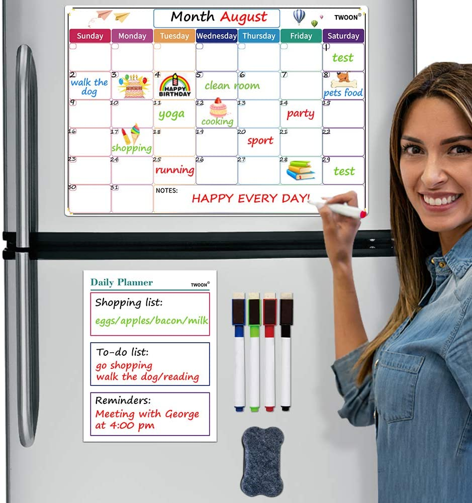 Magnetic Monthly Weekly Planner Calendar Table Dry Erase Calendar Whiteboard Schedules Fridge Sticker Message Board