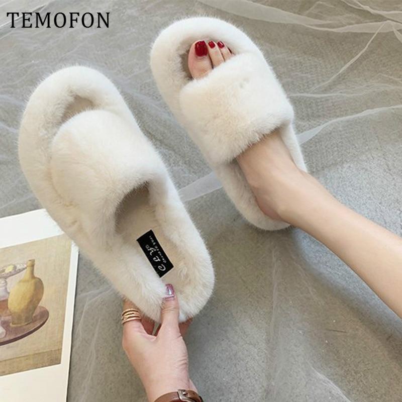 Temofon peludo chinelos feminino macio quente casa chinelos feminino casa sleepers sapatos mulher inverno indoor casa sapatos senhoras hvt1438