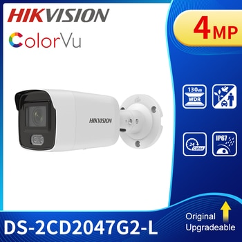 Hik 4MP POE DS-2CD2047G2-L CCTV ip camera Surveilance colorvu full color Fixed Bullet Network Security Protection