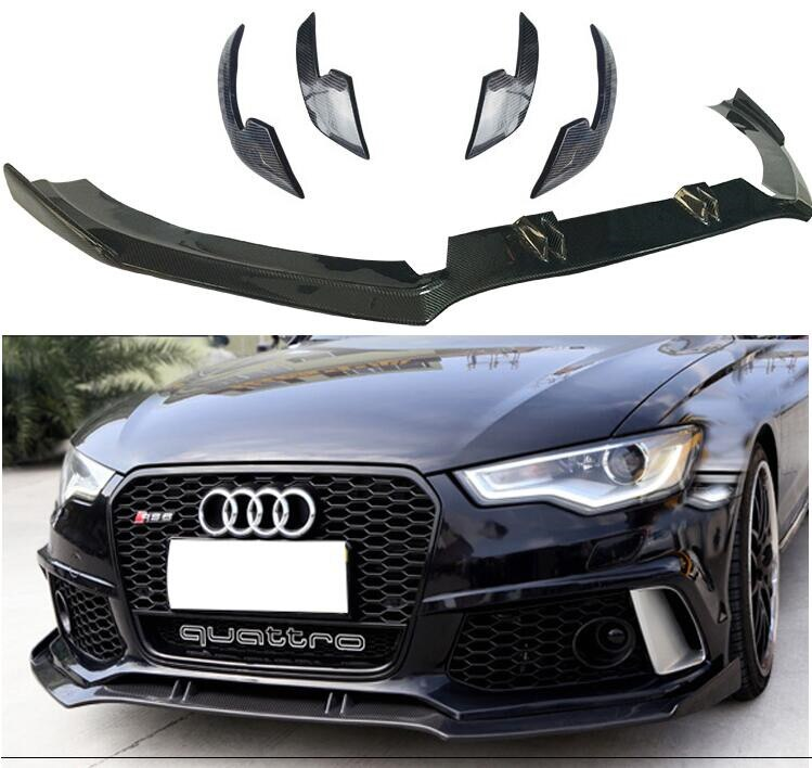 Hohe Qualität Carbon fiber Front Bumper Lip Splitter Schürzen Tasse Klappen Abdeckung Für AUDI A6 RS6 C7 C 7,5 Limousine 2012-2018 jahr