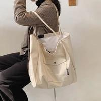 vreyme women large capacity canvas shoulder bags 2021 new casual wild shopping bag fashion daily cotton cloth handbag sac a main
