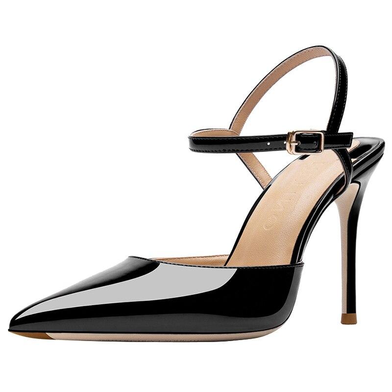 أحمر أسفل الأحذية Slingback الصنادل النساء مشبك حزام أحذية الصيف السيدات مثير عالية الكعب خنجر أحذية مساء اليومية