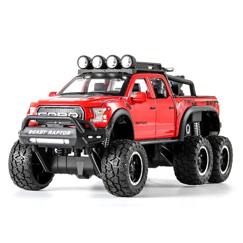 1/28 fora da estrada ford raptor f150 captador com motorycle presentes liga fundição som luz puxar para trás fora-estrada modelo brinquedos veículo