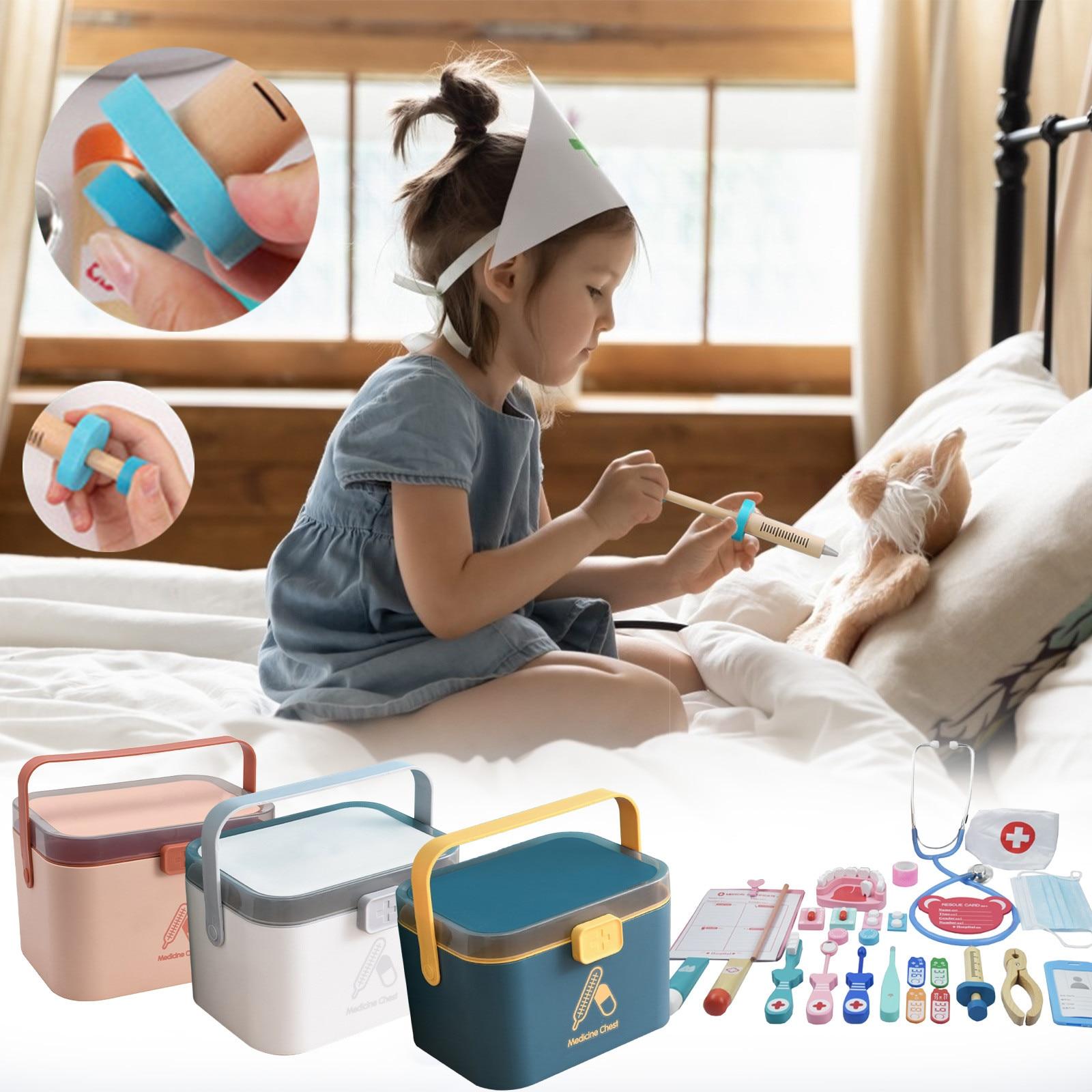 criancas jogar casa medico joga um brinquedo kit medico conjunto menina enfermeira