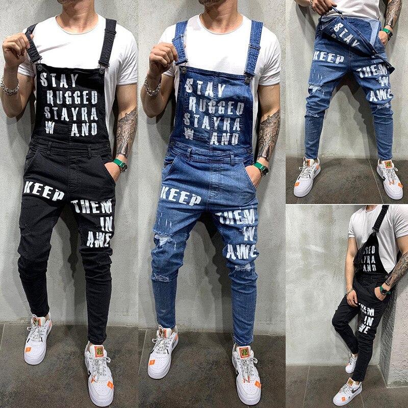 Модные мужские рваные джинсы с надписями в стиле хип-хоп, комбинезоны, уличные джинсовые комбинезоны с потертостями для мужчин, брюки на под...