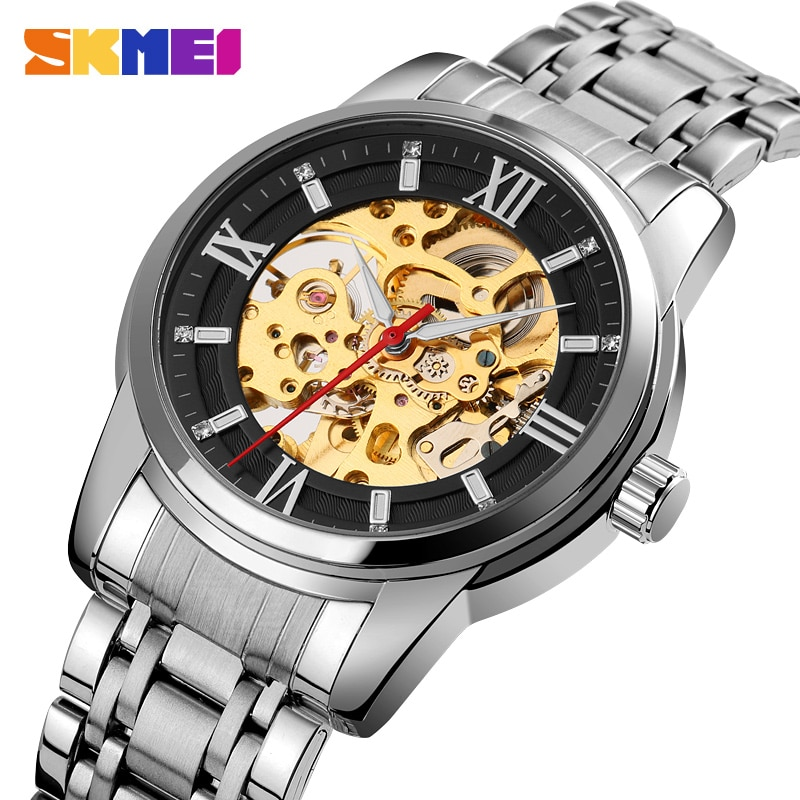 Luxury Automatic Watch Men Hollow Dial Mechanical Watches For Mens Fashion Stainless Steel Band Clock SKMEI Relogio Masculino