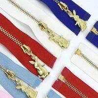 25pcs meetee 40 70cm 3 metal zipper puller rabbit silder zip diy bags purse garment decor zips sewing accessories supplies