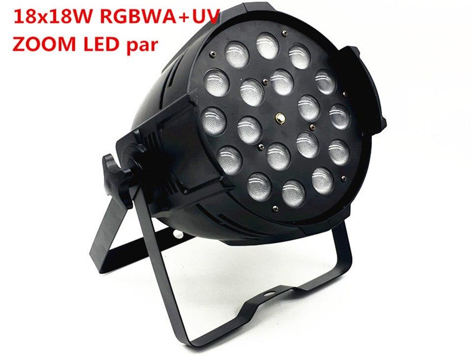 10 unids/lote 18x18 w zoom par luz dmx luces dj par 64 uv 6in1 rgbwa lavado par luz del partido de discoteca dj
