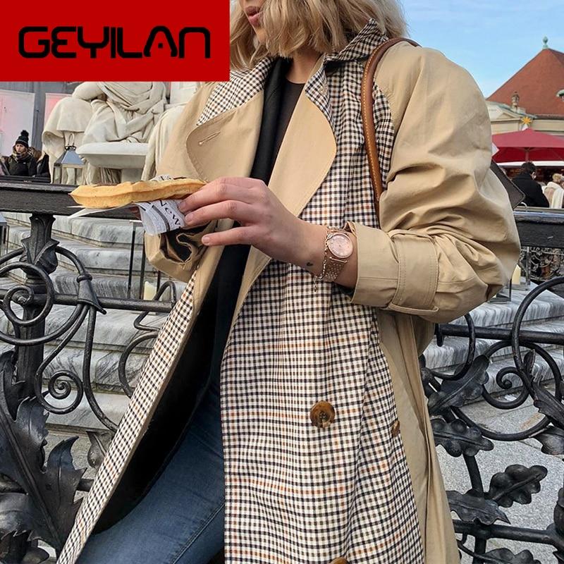 Causal light tan autumn women trench coat Split joint elegant long sleeve coat Plaid long coat with