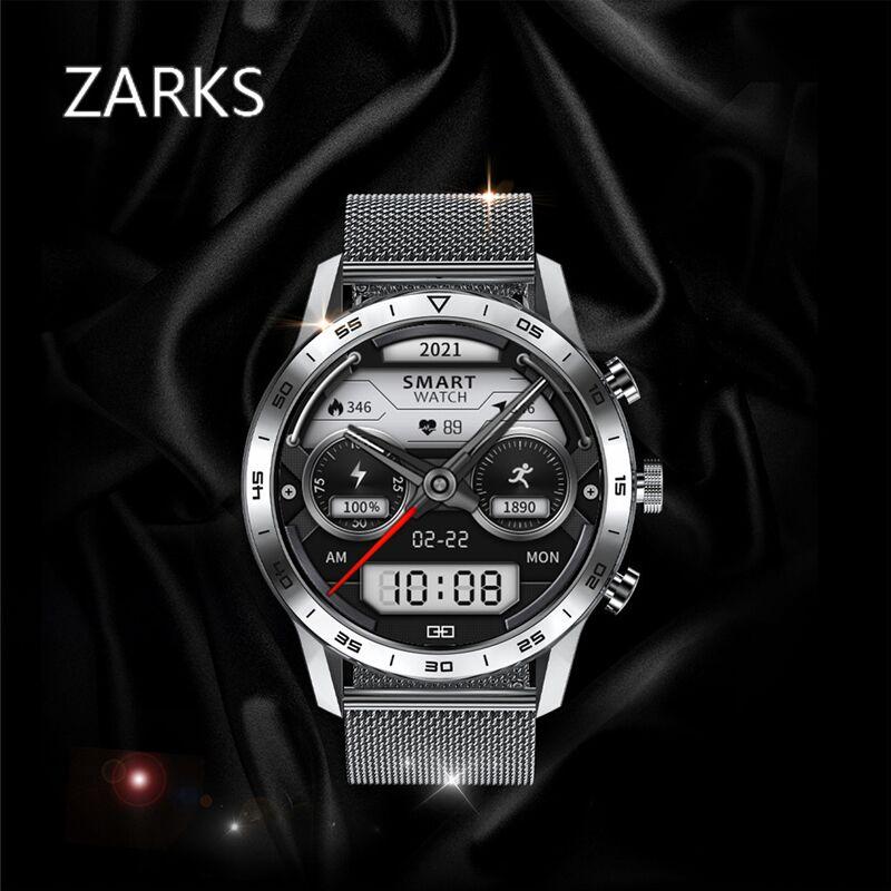 ZARKS 2021 ساعة ذكية الرجال اللاسلكية الإلكترونية الأعمال IOS المياه برهان بلوتوث الدم الأكسجين مراقب معدل ضربات القلب معصمه