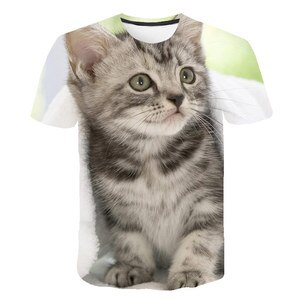 2021Summer New Animal Cat T-shirt Lovely 3D Print Boys and girls Casual T-shirt Babys Cute Funny T-shirt Kids Tops O-Neck 4T-14T