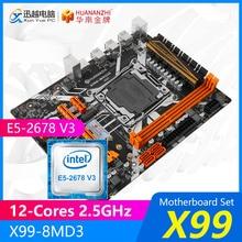 HUANANZHI X99 placa base de X99-8MD3 M.2 MATX con Intel Xeon E5-2678 V3 12 núcleos 2,5 GHz CPU soporte ECC/REG 32GB DDR3 RAM