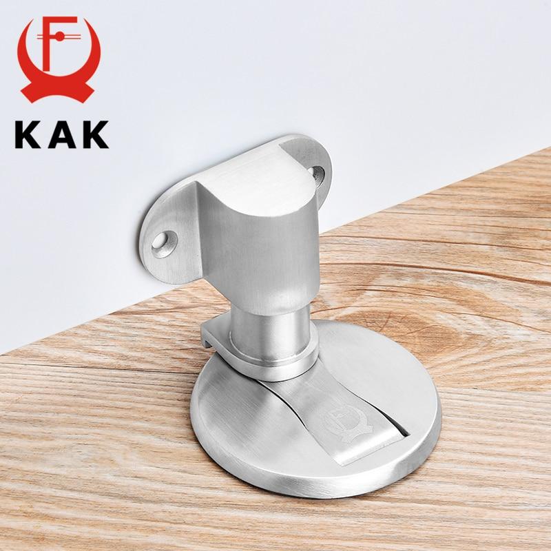 KAK Adjustable Door Holder Stainless Steel Magnetic Door Stopper Non-punch Sticker Water-proof Door Stop Furniture Door Hardware
