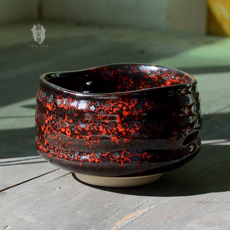 Cuenco matcha negro rojo japonés taza de té verde Taza de cerámica antigua hecha a mano teacup Kungfu ceremonia teaware chawan maccha