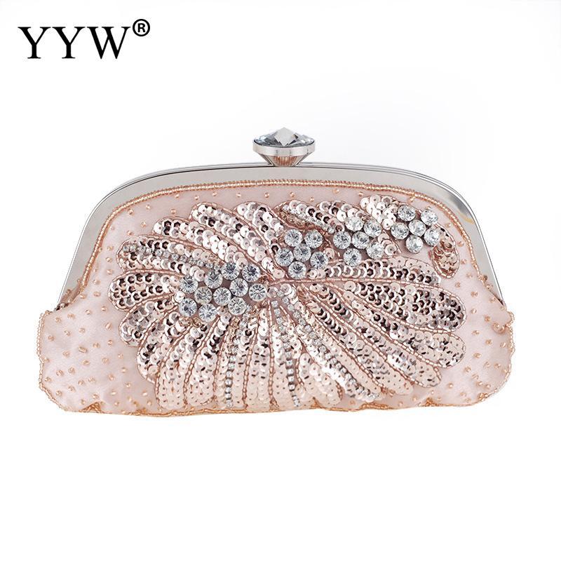 Bolso de mano de fiesta de noche de diamantes de imitación con cadena, bolsos de lentejuelas para mujer, elegante bolso de fiesta para banquete, bolsos de lujo para mujer 2019