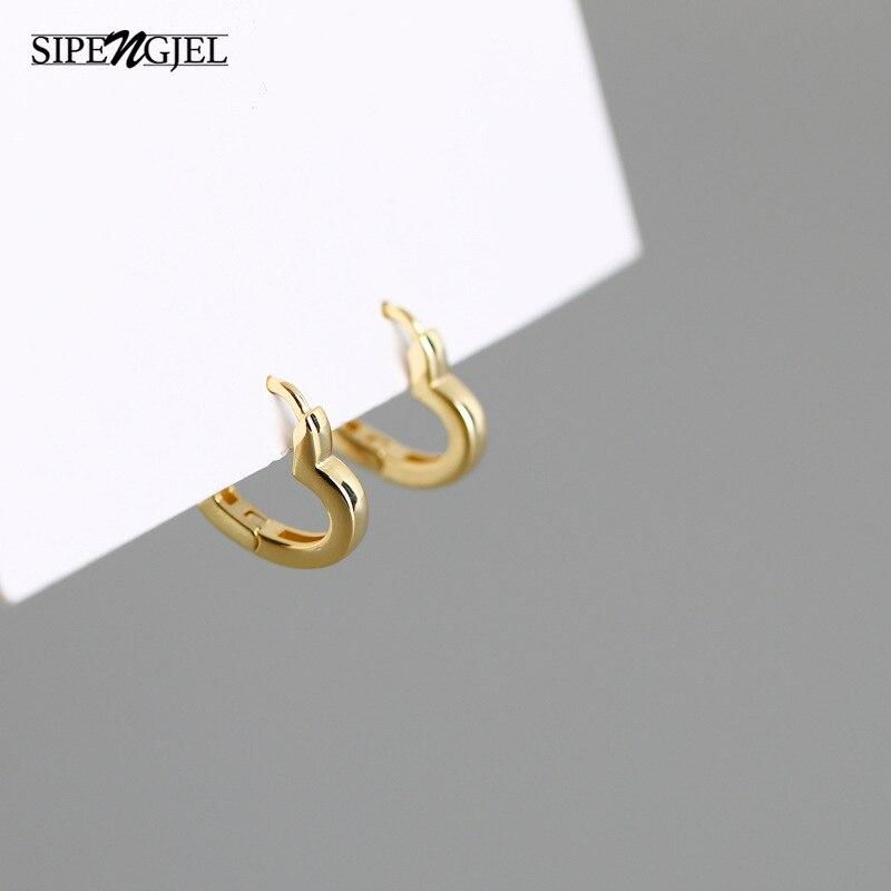 SIPENGJEL Sweet Love Heart Huggie Earrings Minimalist Small Hugging Hoop Earrings For Women Fine Jew