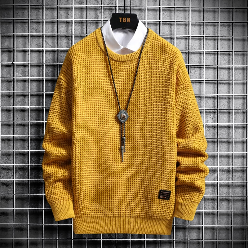 New Winter Men's Sweater Male Knitted Pullovers Solid Color Casual Thick Warm Mens Christmas Sweaters Knitwear