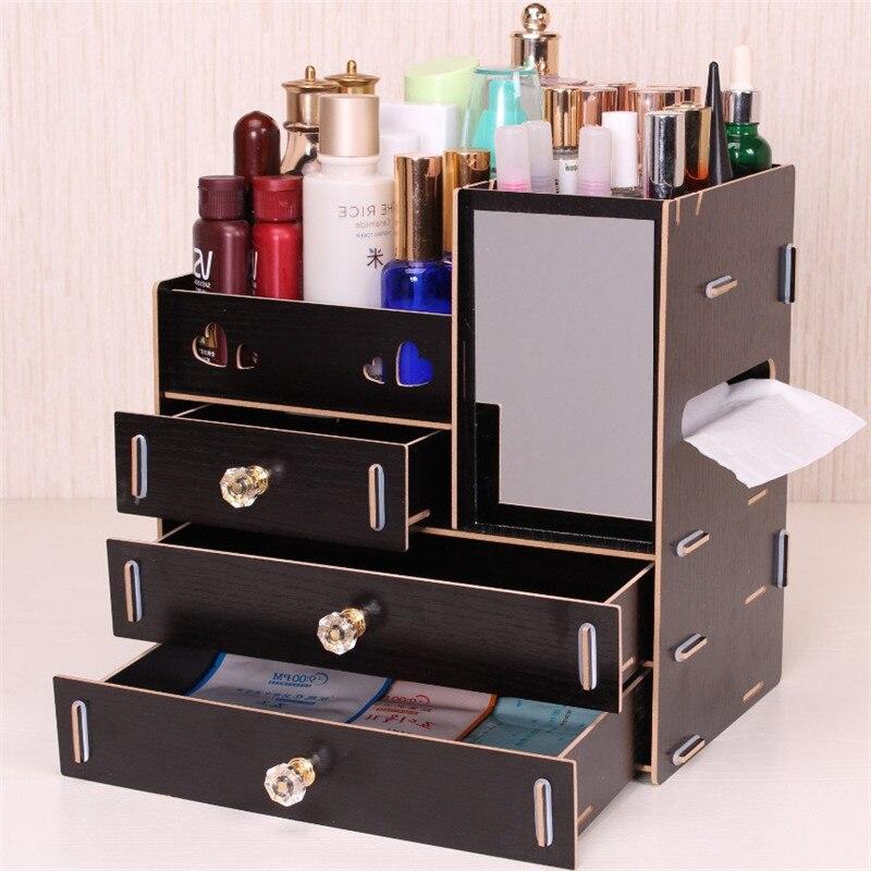 Caja de almacenamiento Loozykit DIY de madera, organizador de maquillaje, recipiente para joyas, cajón de madera, organizador hecho a mano, caja organizadora de almacenamiento de cosméticos