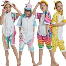 Kigurumi onesies manga curta crianças unicórnio pijamas meninos trajes panda animal pijamas verão dos desenhos animados macacão meninas pijamas