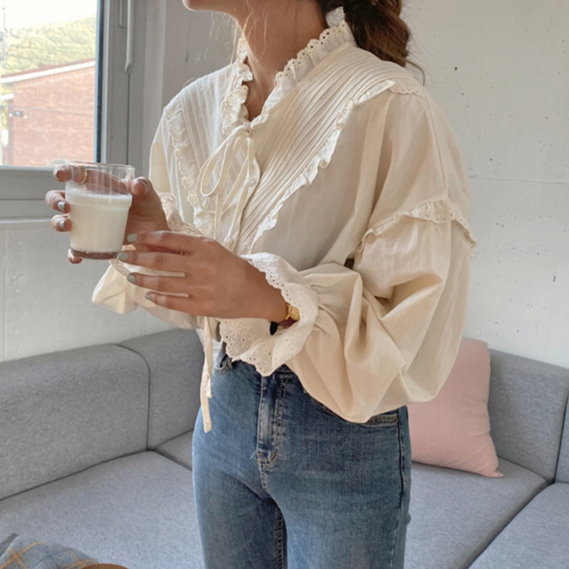 SuperAen 2021 spring and summer Korean French Lace Up Ruffles Patchwork Solid Puff Sleeve Women Blouses