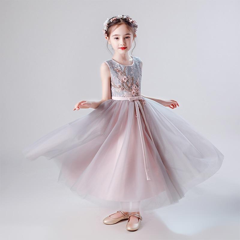 Новые Свадебные сарафаны для девочек, детские платья принцессы с цветочной вышивкой без рукавов, Детские вечерние бальные платья на день ро...