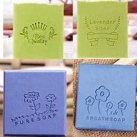flower letter pattern stamp home cleaning natural seal acrylic transparent imprint soap stamp for diy handmade making chapter
